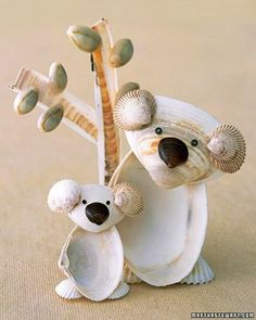 Seashell Koalas .... After a trip to the shore, why not turn seaside treasures into keepsakes and accents for your home? Get inspired by these creative shell ideas. Transform your child's beach discoveries into an adorable shell creature. More on Martha Stewart's Blog in the Crafts and Projects section. by sandra1969