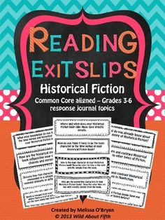 Are you looking for a way to help your fourth, fifth or sixth graders read with purpose and accountability during Independent Reading time?  Reading exit slips will do just that.  This set of Reading Exit Slips is focused on the genre of Historical Fiction and will keep your readers thinking deeply about setting, time periods, key details, story elements, theme, character change, history, and self assessment. #wildaboutfifthgrade $