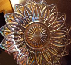 CLEAR MULTI COLOR CARNIVAL GLASS PLATE DISH PLATTER OPALESCENT  picclick.com