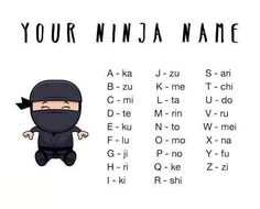 ninja names by Awesome. Your Name In Japanese, Japanese Words, Alphabet Code, Alphabet Symbols, Video Humour, Name Games, Lego Ninjago, Troll, Nom Nom