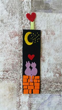 Lovely Cats felt bookmark #kitapayraç #kedili#aşk#gece