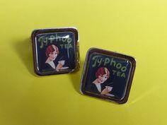 Vintage...... Typhoo Tea Cufflinks black by mixedupdolly on Etsy