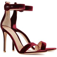 Womens High-Heel Sandals Gianvito Rossi Portofino Bordeaux Velvet... ($710) ❤ liked on Polyvore featuring shoes, sandals, gianvito rossi, buckle shoes, ankle strap high heel sandals, velvet sandals and high heel ankle strap shoes