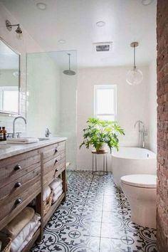 Farmhouse bathroom style, bathroom inspiration, and master bathroom some ideas. A round up of dream master bathroom designs, rustic master bathroom a few ideas and tips for styling your powder rooms. Boho Bathroom, Bathroom Design Small, Bathroom Interior Design, Master Bathroom, Bathroom Ideas, Bathroom Inspo, Bathroom Pics, Bathroom Remodeling, Neutral Bathroom
