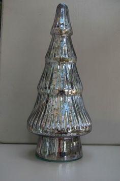 vintage mercury glass christmas tree figurine silver textured l 13 h new ebay - Mercury Glass Christmas Trees