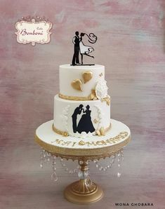 one of a kind wedding cakes 3 tier silhouette amp engagement cake ben pinte 18020