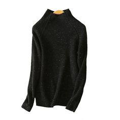 Women's pullover sweater warm keeping soft cashmere dot yarn half turtleneck raglan sleeves 4 colors sweaters