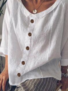 Shop shirts & blouses - women plus size buttoned casual solid cotton-blend blous Plus Size Shirts, Plus Size Blouses, Plus Size Tops, Plus Size Women, Stylish Shirts, Casual T Shirts, Casual Sweaters, Maxi Robes, Summer Blouses
