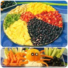 Great beach-themed fun food ideas! Beach ball fruit pizza  bell pepper octopus veggie dip.
