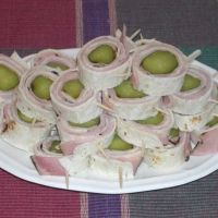Make these for our super bowl  party every year.......very yummy and easy.  Pickle Ham Roll-up Appetizers