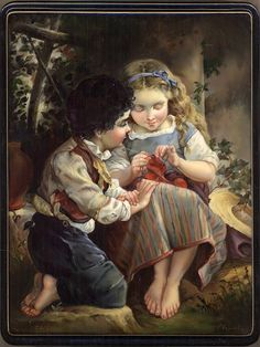 """Italian Children"". Fedoskino lacquer miniature painting technique"