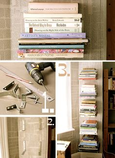 DIY bookshelf. All you need is a ruler, L shaped brackets, dry wall screws, and a drill! Fun and simple. And so cost-friendly!
