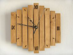 Roman Digits Clock Handcrafted Wooden Wall Hanging Wood Old Wood Handmade Oak