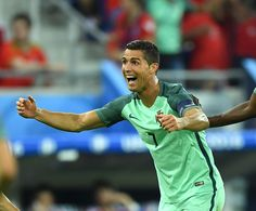 Cristiano Ronaldo of Portugal celebrates after scoring a goal during the UEFA Euro 2016 semi final match between Portugal and Wales at Stade de Lyon. Portugal Euro, Uefa Euro 2016, 2016 Pictures, We Are The Champions, World Football, European Championships, Cristiano Ronaldo, Semi Final, Lyon