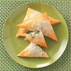 Spinach Cheese Triangles....I add some fresh garlic to the mixture. So easy and tasty!!