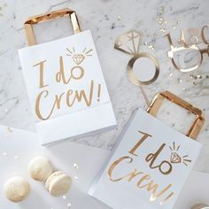 I Do Crew Hen Party Gift Bags The new 'I Do Crew' range is an gorgeous mix of ice white and luxe gold. Treat the hens to some gorgeous goodies in these eye catching gold 'I Do Crew' gift bags Each pack contains 5 party bags measuring (H), (W) and (D). Hen Do Party Bags, Paper Party Bags, Hen Party Gifts, Party Gift Bags, Hen Party Favours, Party Crafts, Paper Bags, Bridal Shower Favours, Bridal Shower Party