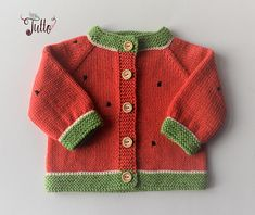 Watermelon sweater baby girl cardigan hand knit sweater wool sweater baby clothing new baby baby shower pink sweater MADE TO ORDER : Watermelon sweater baby girl cardigan hand knit sweater wool Baby Pullover Muster, Handgestrickte Pullover, Knitted Baby Cardigan, Knitted Baby Clothes, Hand Knitted Sweaters, Wool Sweaters, Pink Sweater, Sweater Cardigan, Baby Knitting Patterns