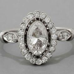 Marquise Diamond Engagement Ring Art Deco Style Platinum