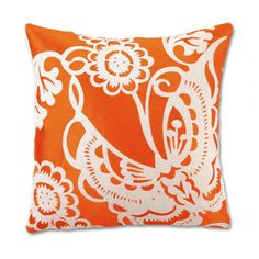 """Embroidered Butterfly in orange by Trina Turk for """"Modern Chic Home."""""""