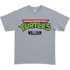 Personalized Teenage Mutant Ninja Turtles Retro Logo Gray Adult T-Shirt
