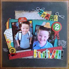 """Sweet """"Grade 2"""" Scrapbooking Page...Karen Hansson-MyScrappin' Sanity."""