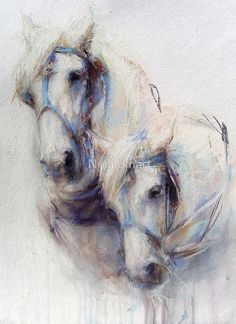 The Boys (harness work horses) by Nina SMART. Painted Horses, Horse Drawings, Art Drawings, Work Horses, Animal Paintings, Horse Paintings, White Horses, Watercolor Animals, Watercolor Paper
