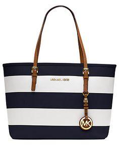 MICHAEL Michael Kors Handbag, Jet Set Small Travel Stripe Tote - perfect for summer