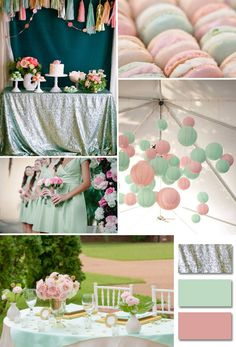 Trendy Ideas For Wedding Colors Coral And Mint Baby Shower Mint Pink Wedding, Green Wedding, Our Wedding, Mint Gold Weddings, Spring Wedding, Wedding Themes, Wedding Designs, Wedding Decorations, Wedding Ideas