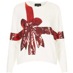 Topshop 'Present' Sequin Ribbon Sweater found on Polyvore
