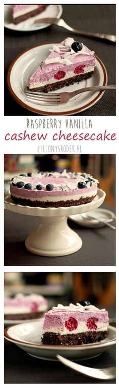 no bake raspberry cashew cheesecake! dairy free yet still delicious! chocolate and nut crust