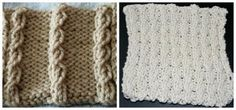 Work a Mock Cable to Add Easy Texture to a Project: At left, the mock cable pattern described here. At right, a similar pattern over two stitches in my Mock Cable Washcloth.