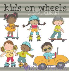 Kids on Wheels Digital Clip Art Set -Personal and Commercial Use- Cute kid clip art, outdoor fun, roller skating