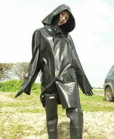looks like a nice rubber raincoat Red Raincoat, Plastic Raincoat, Hooded Raincoat, Heavy Rubber, Black Rubber, Firefighter Boots, Latex Wear, Rubber Raincoats, Rain Gear