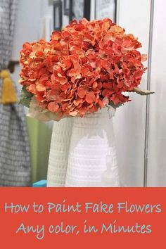 If you can;'t find fake flowers in the colors you need or just want a change, paint them! This tutorial shows you how to paint flowers in minutes. No floral spray paint required. Fake Hydrangeas, Fake Flowers, Artificial Flowers, Indoor Flowers, Spray Paint Projects, Diy Spray Paint, Spray Painting, Acrylic Flowers, Paint Flowers