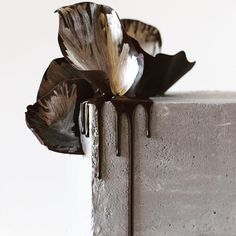 Close up of that delicious drip and chocolate sails on my concrete cake. #concretecake #concrete #squarecake