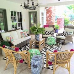 Summer Entertaining on the Porch with Cocktails! Lilly Pulitzer for Target collection, outdoor porch styling