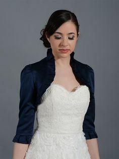 Elizabeth Jacket - Navy Blue 3/4 sleeve wedding satin bolero jacket Satin008_NavyBlue $45
