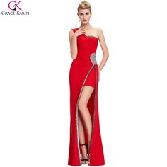 8f3bc6bf50f7 Click to Buy    Grace Karin One Shoulder Prom Dresses Sequin Beaded High