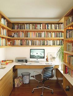 Bookshelf towards end, and wrap around into lounge room? Drawers for a study nook