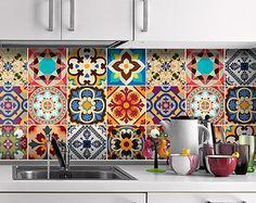 Talavera Traditional Tiles Decals - Tiles Stickers - Tiles for Kitchen Backsplash or Bathroom - PACK OF 12 - SKU:TradTalaTiles