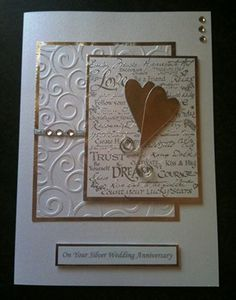 Handmade Silver Wedding Anniversary Card