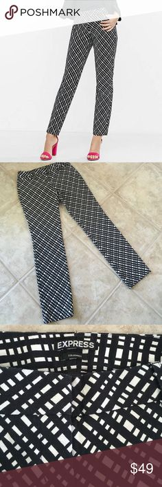 """✨EXPRESS Columnist Pants EXPRESS black and off-white diagonal plaid Columnist pant.  The Columnist pant stands out with a sexy silhouette and a modern, just below the waist fit for a sleek and sophisticated look.  Hidden hook & button closure, zip fly, belt loops, Cotton/Polyester/Elastane, Machine washable, 30.5"""" inseam, leg opening measures 7"""" across.  Worn one time - excellent condition! Express Pants"""