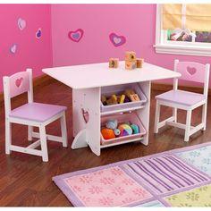 Compra online este conjunto de mesa y dos sillas para niñas fabricado en madera…