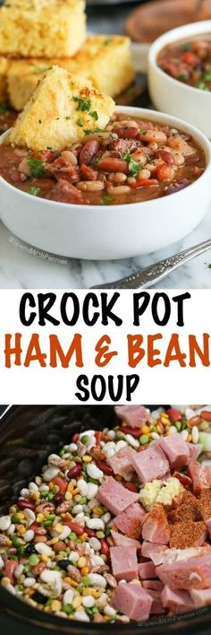 Slow Cooker Ham and Bean Soup is the perfect hearty meal to come home to on a chilly day. This (Crock Pot Soup Recipes) Crockpot Dishes, Crock Pot Slow Cooker, Crock Pot Cooking, Slow Cooker Recipes, Cooking Recipes, Crockpot 15 Bean Soup, Crockpot Recipes, Cooking Tips, Sausage Recipes