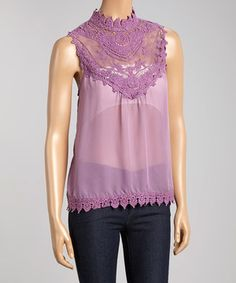 Look what I found on #zulily! Mauve Lace Sleeveless Top by Jai Creations #zulilyfinds