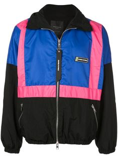 Blue and wildflower pink track jacket from Daniel Patrick featuring a roll neck, a front zip fastening, contrasting panels, a logo to the chest, zipped side pockets and a ribbed hem and cuffs. Daniel Patrick, Roll Neck, Size Clothing, Baby Design, Rain Jacket, Windbreaker, Women Wear, Mens Fashion, Zip