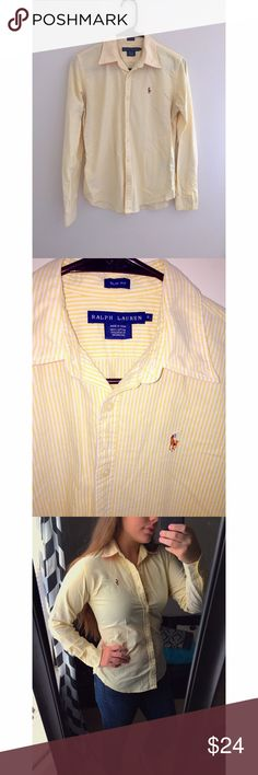 Ralph Lauren Striped Oxford Button-down Women's size 6. Ralph Lauren Slim fit button-down. Yellow & white striped. Like new condition. Ralph Lauren Tops Button Down Shirts