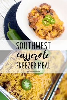Southwest Casserole Freezer Meal Recipe - A Make Ahead and Freeze Casserole Make Ahead Casseroles, Make Ahead Freezer Meals, Freezer Cooking, Easy Meals, Freezer Recipes, Gf Recipes, Cooking Tips, Casserole To Freeze, Casserole Recipes
