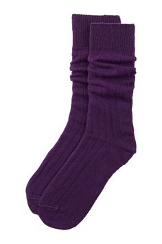 J.M. DICKENS Purple Cashmere (75%) Blend Sock