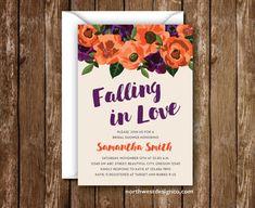 falling in love bridal shower invitation fall invitation autumn invite orange purple brown shower invite 5x7 digital file or printed